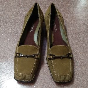 Aerosoles Low Heeled Olive Green Suede Loafers